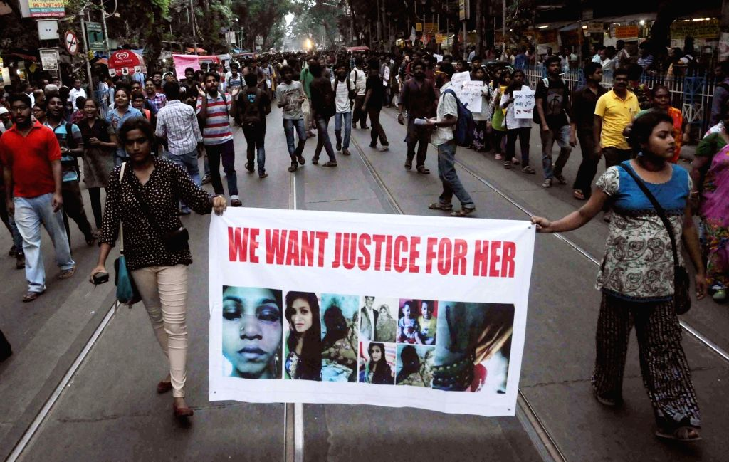 Students stage a demonstration against domestic violence in Kolkata, on Oct 26, 2016.