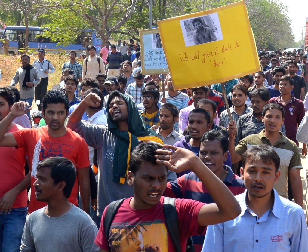 Students stage a demonstration against the suicide of Rohith Vemula, a Dalit research scholar of the University of Hyderabad (UoH) in Hyderabad on Jan 18, 2016. Rohith allegedly hanged ...