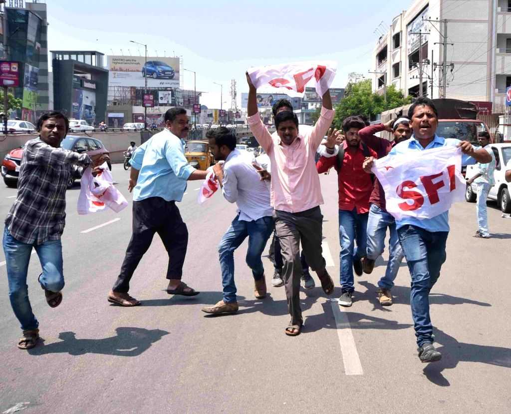Students stage a demonstration against the Telangana State Board of Intermediate Education (TSBIE) over alleged fudging of results, outside Telangana Chief Minister K. Chandrashekar Rao's ... - K. Chandrashekar Rao