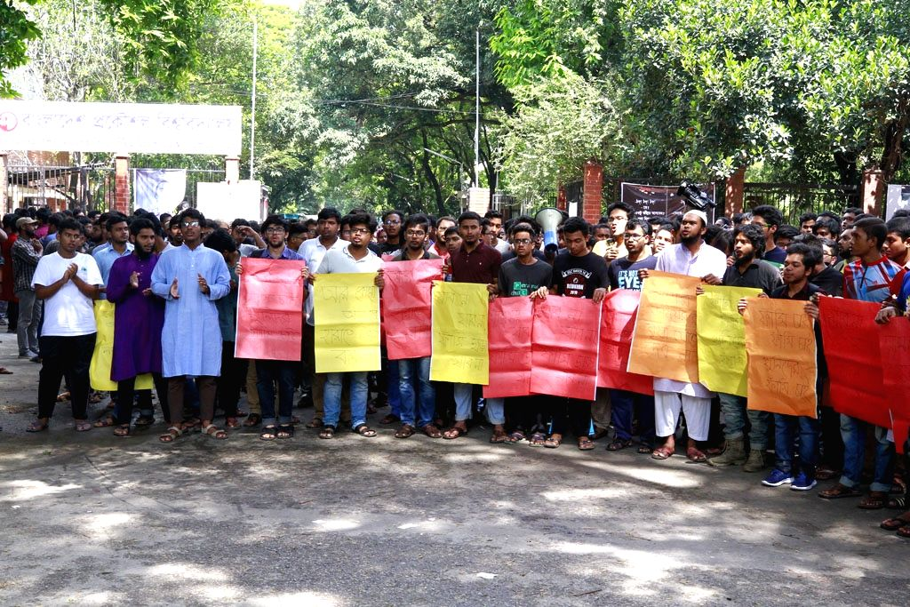 Students stage a demonstration against the alleged murder of an undergraduate second-year engineering student Abrar Fahad of Bangladesh University of Engineering and Technology (BUET) who was ...