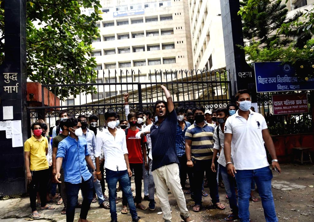 Students stage a demonstration over their various demands, in Patna on Aug 13, 2020.