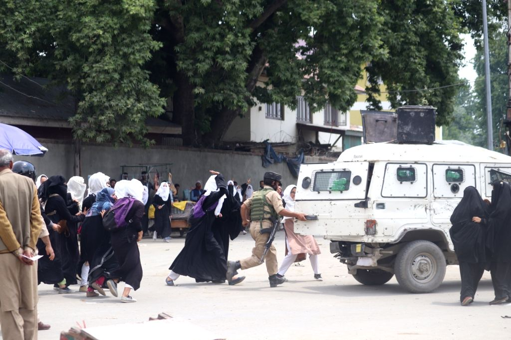 Students stage a protest against the alleged rape of a three-year-old girl in Bandipora district on 9th May; in Sopore on May 13, 2019. The accused, identified as Tahir Ahmad Mir has been ...