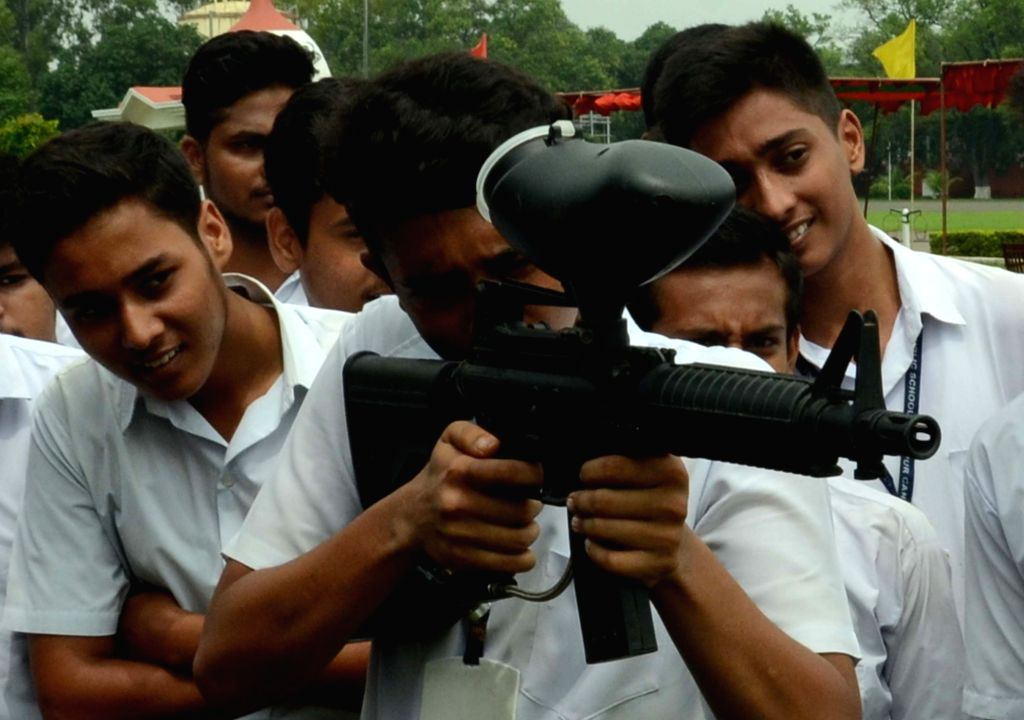 Students visit an arms exhibition organised by Bihar Regimental Center Central (BRC) in Patna on Aug 9, 2017.