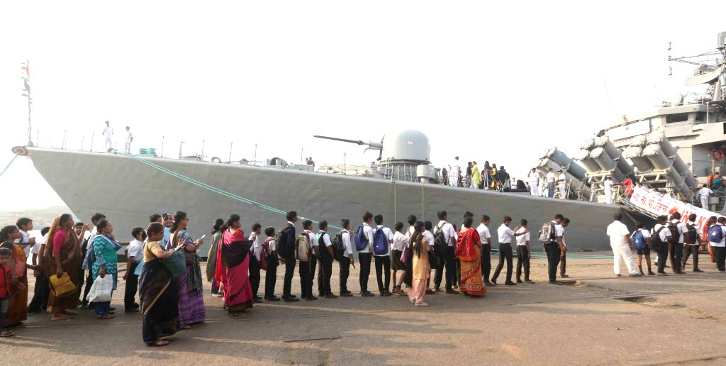 Students visit INS Kirch, a guided missile frigate berthed at Kidderpore dock in Kolkata on Dec 5, 2018.