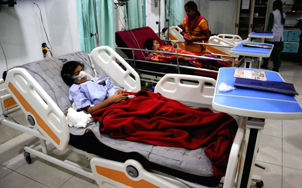 Students who got injured after their bus fell into a drain near Attari being treated at a private hospital in Amritsar on Sept 20, 2016.