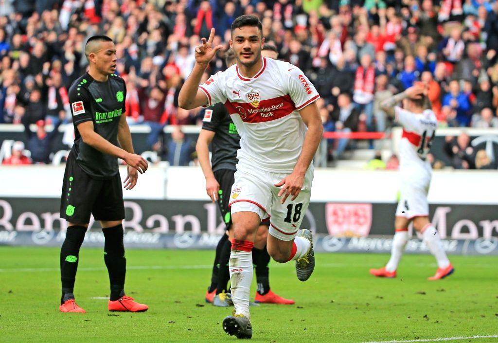 STUTTAGRT, March 4, 2019 - Stuttgart's Ozan Kabak (R) celebrates his second goal during a German Bundesliga match between VfB Stuttgart and Hanover 96, in Stuttagrt, Germany, on March 3, 2019. ...