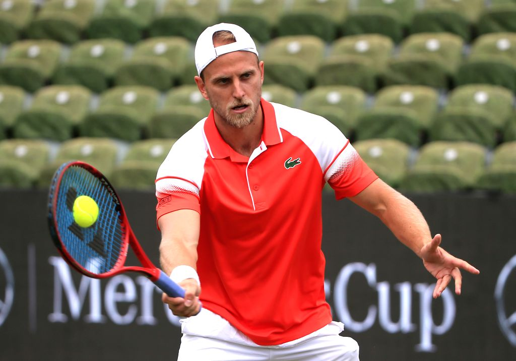 STUTTGART, June 14, 2019 - Denis Kudla of the United States returns a shot during a men's singles quarterfinal match of ATP Mercedes Cup tennis tournament between Denis Kudla of the United States and ...
