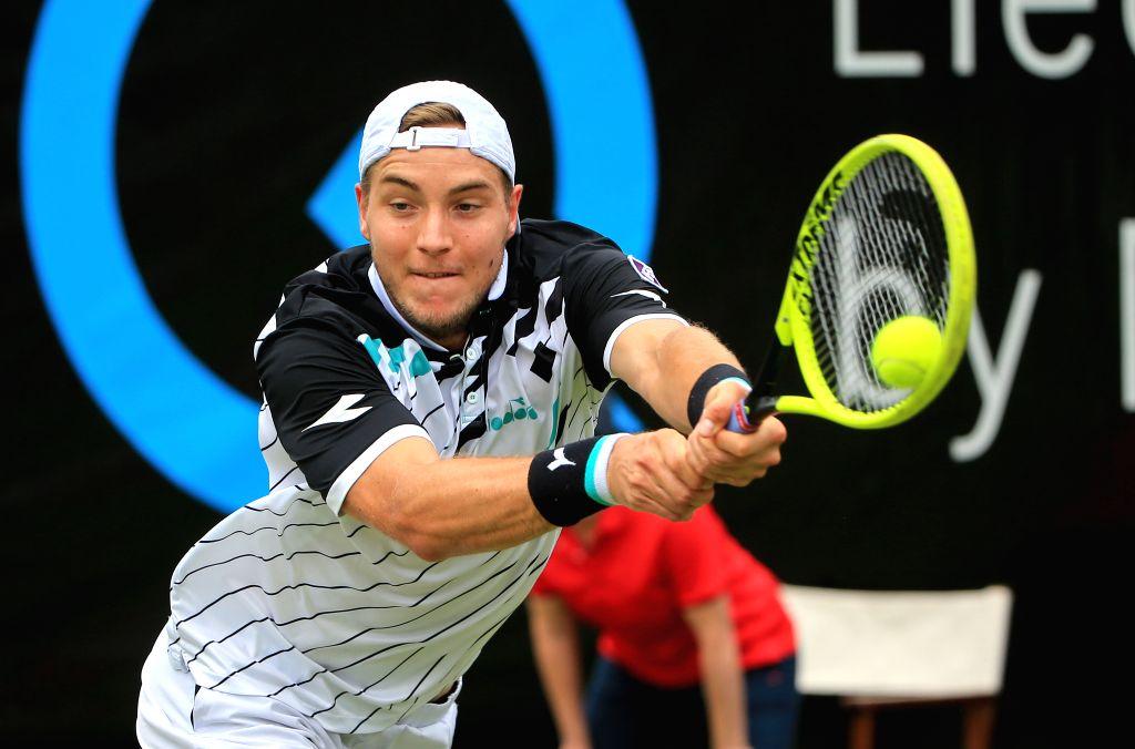 STUTTGART, June 14, 2019 - Jan-Lennard Struff of Germany returns a shot during the men's singles quarterfinal match of ATP Mercedes Cup tennis tournament against Lucas Pouille of France in Stuttgart, ...