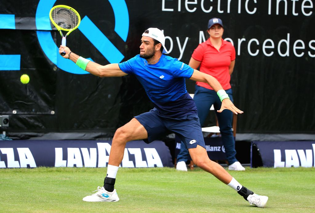 STUTTGART, June 14, 2019 - Matteo Berrettini of Italy competes during a men's singles quarterfinal match of ATP Mercedes Cup tennis tournament between Denis Kudla of the United States and Matteo ...