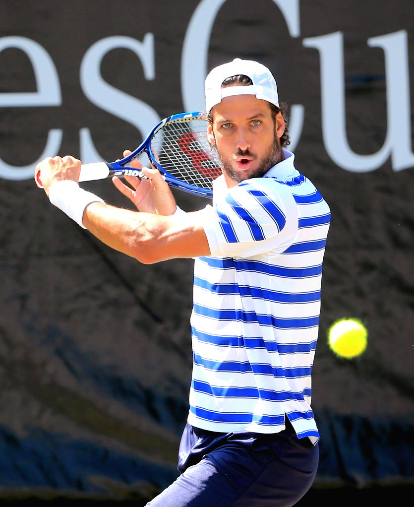 STUTTGART, June 15, 2017 - Spain's Feliciano Lopez returns the ball during a 2nd round match of Mercedes Cup tennis tournament with France's Jeremy Chardy in Stuttgart, Germany, on June 15, 2017.