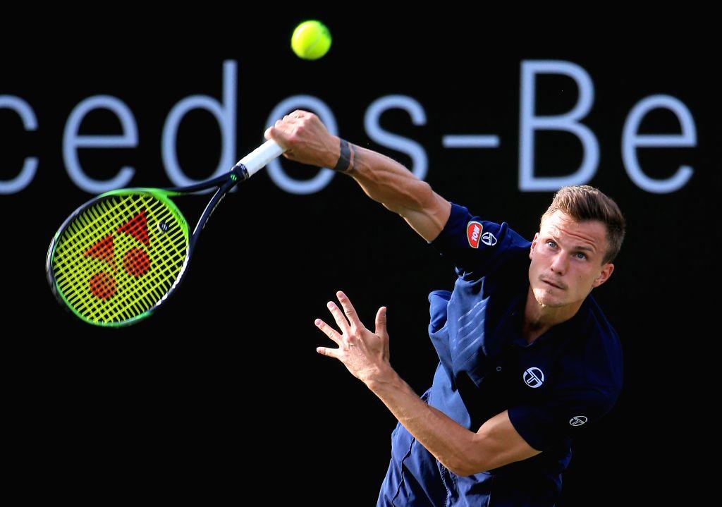 STUTTGART, June 15, 2019 - Marton Fucsovics of Hungary serves during a men's singles quarterfinal match of ATP Mercedes Cup tennis tournament between Marton Fucsovics of Hungary and Milos Raonic of ...