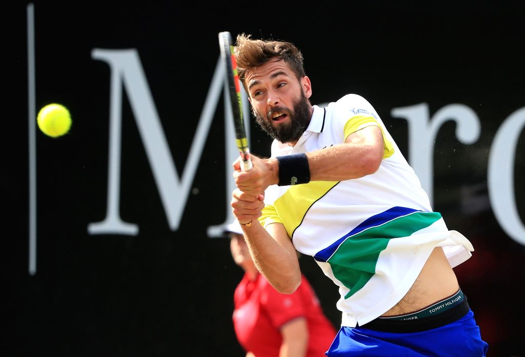 STUTTGART, June 16, 2017 - France's Benoit Paire returns the ball during a 2nd round match of Mercedes Cup tennis tournament against Germany's Peter Gojowczyk in Stuttgart, Germany, on June 15, 2017. ...