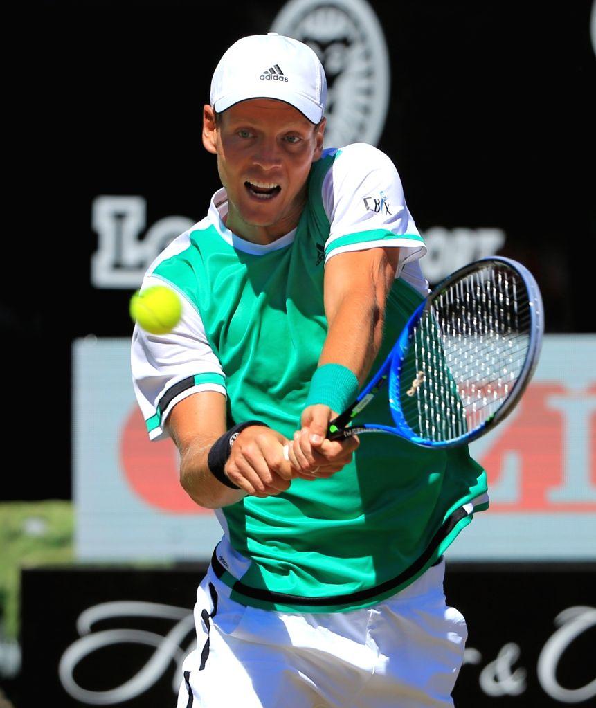 STUTTGART, June 17, 2017 - Czech's Tomas Berdych returns the ball during a quarter-final match of Mercedes Cup tennis