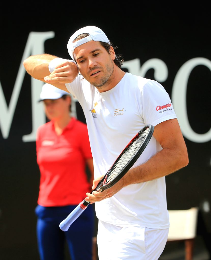 STUTTGART, June 17, 2017 - Germany's Tommy Haas reacts during a quarter-final match of Mercedes Cup tennis tournament against Germany's Mischa Zverev in Stuttgart, Germany, on June 16, 2017. Tommy ...