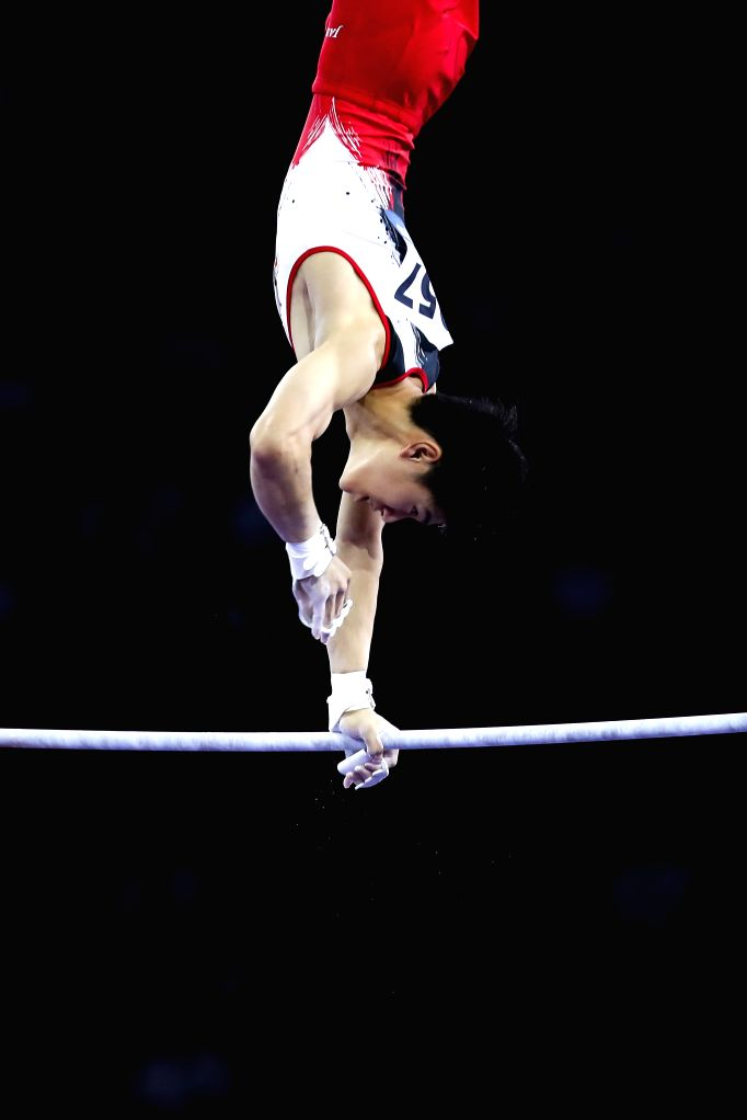 STUTTGART, Oct. 10, 2019 - Hashimoto Daiki of Japan competes on the horizontal bar during the Men's Team Final of the 2019 FIG Artistic Gymnastics World Championships in Stuttgart, Germany, Oct. 9, ...