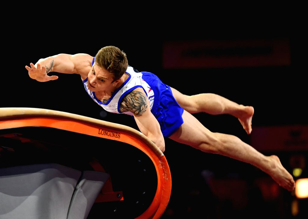 STUTTGART, Oct. 10, 2019 - Ivan Stretovich of Russia competes on the vault during the Men's Team Final of the 2019 FIG Artistic Gymnastics World Championships in Stuttgart, Germany, Oct. 9, 2019.