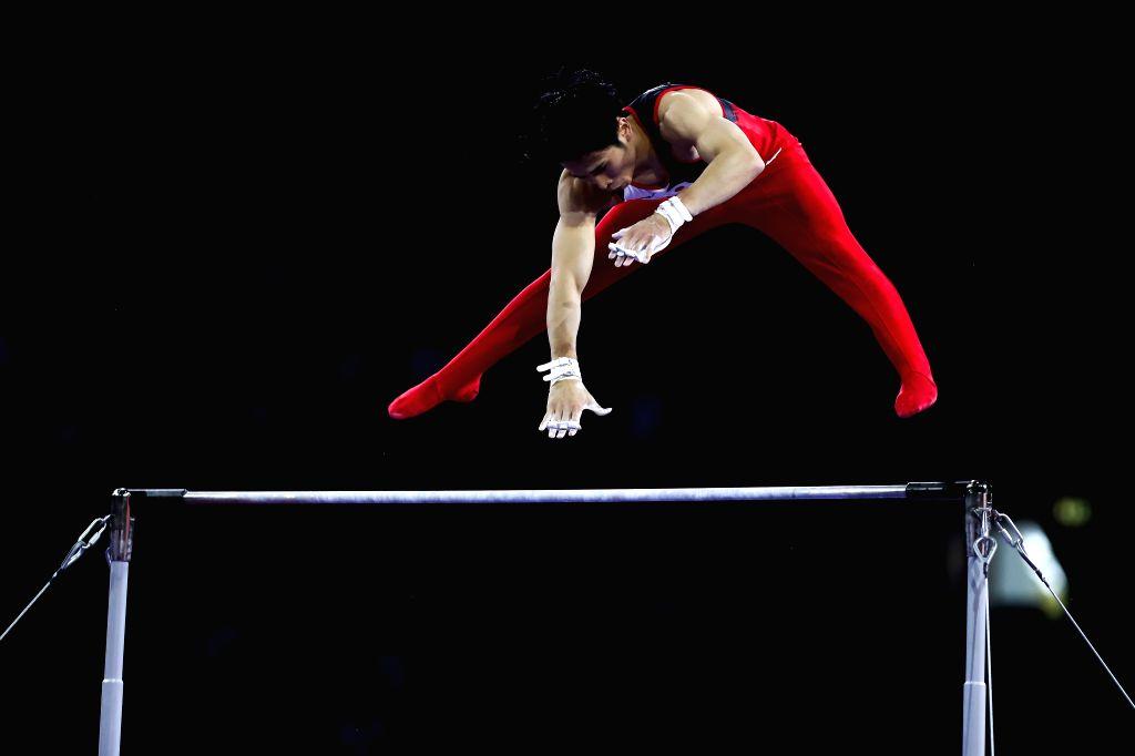 STUTTGART, Oct. 10, 2019 - Kaya Kazuma of Japan competes on the horizontal bar during the Men's Team Final of the 2019 FIG Artistic Gymnastics World Championships in Stuttgart, Germany, Oct. 9, 2019.