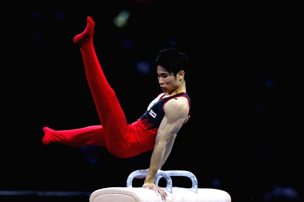 STUTTGART, Oct. 10, 2019 - Kaya Kazuma of Japan competes on the pommel horse during the Men's Team Final of the 2019 FIG Artistic Gymnastics World Championships in Stuttgart, Germany, Oct. 9, 2019.
