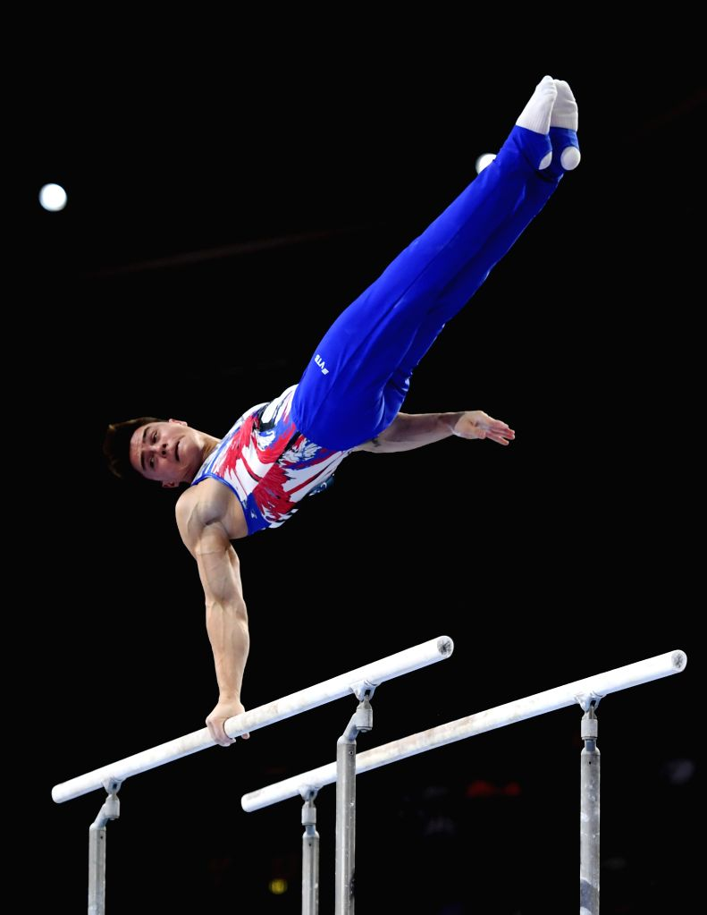 STUTTGART, Oct. 10, 2019 - Nikita Nagornyy of Russia competes on the parallel bars during the Men's Team Final of the 2019 FIG Artistic Gymnastics World Championships in Stuttgart, Germany, Oct. 9, ...