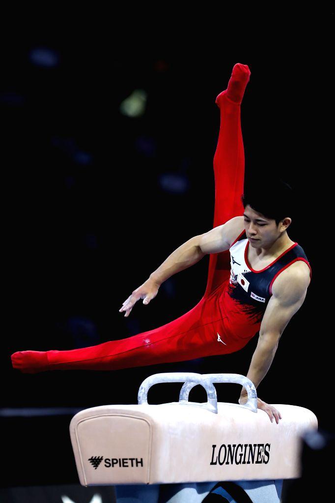 STUTTGART, Oct. 10, 2019 - Tanigawa Kakeru of Japan competes on the pommel horse during the Men's Team Final of the 2019 FIG Artistic Gymnastics World Championships in Stuttgart, Germany, Oct. 9, ...