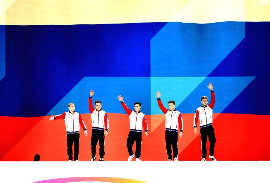 STUTTGART, Oct. 10, 2019 - Team Russia line up prior to the Men's Team Final of the 2019 FIG Artistic Gymnastics World Championships in Stuttgart, Germany, Oct. 9, 2019.