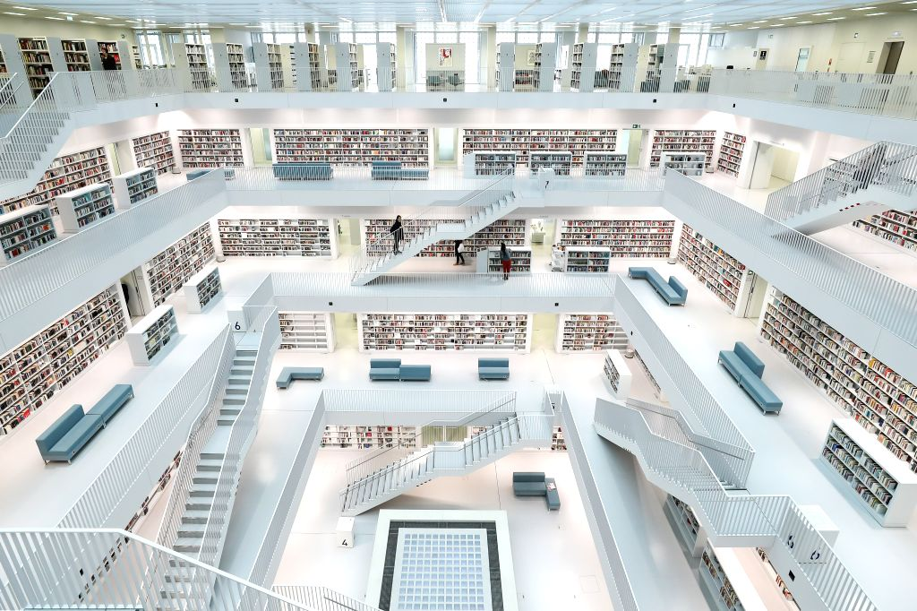 STUTTGART, Oct. 8, 2019 - Photo taken on Oct. 8, 2019 shows the interior view of the Stuttgart Municipal Library in Stuttgart, Germany. Opening in 2011, the Stuttgart Municipal Library has become the ...