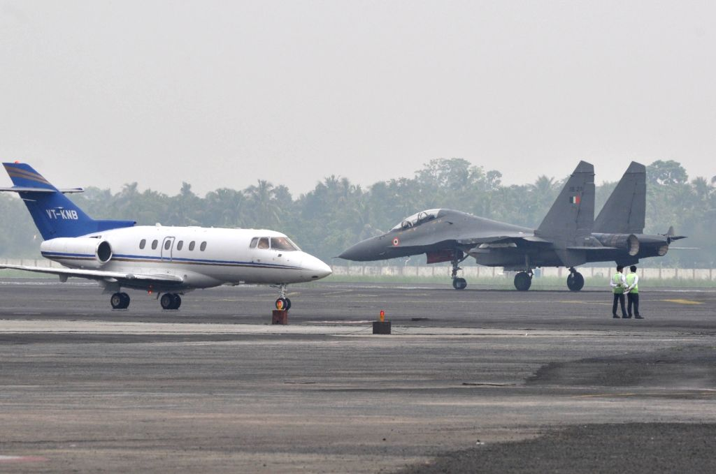 Su-30 MKI air superiority fighter aircraft lands at Netaji Subhash Chandra Bose International Airport after participating in a flypast during an IAF exercise carried out to familiarise ...