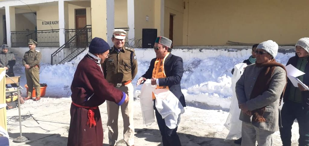Sub-divisional Magistrate Jeevan Singh Negi during the 71st Republic day celebrations at Kaza in Himachal Pradesh's Spiti valley on Jan 26, 2020. Facing extreme freezing temperatures, people in ... - Jeevan Singh Negi