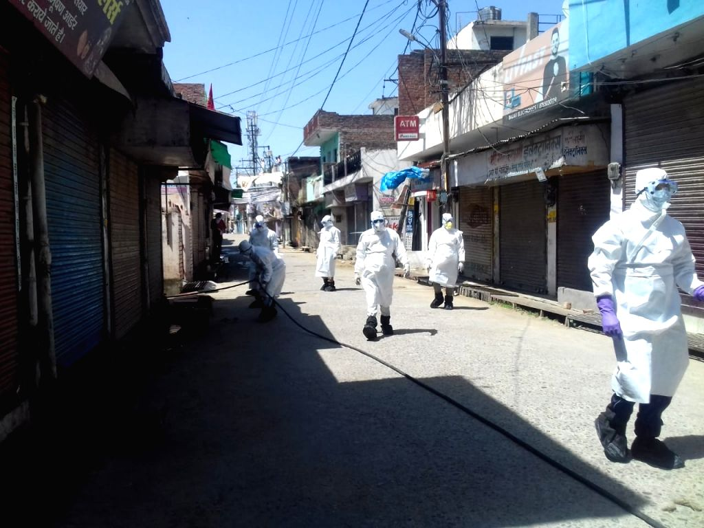 Subhash Nagar in Bareilly being sanitised after one tests positive for COVID-19.
