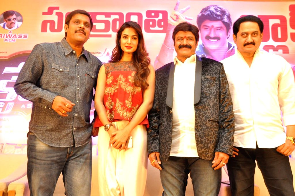 Success meet of actor Balakrishna's new Telugu dictator film in Hyderabad on Jan. 18, Jan, 2016.