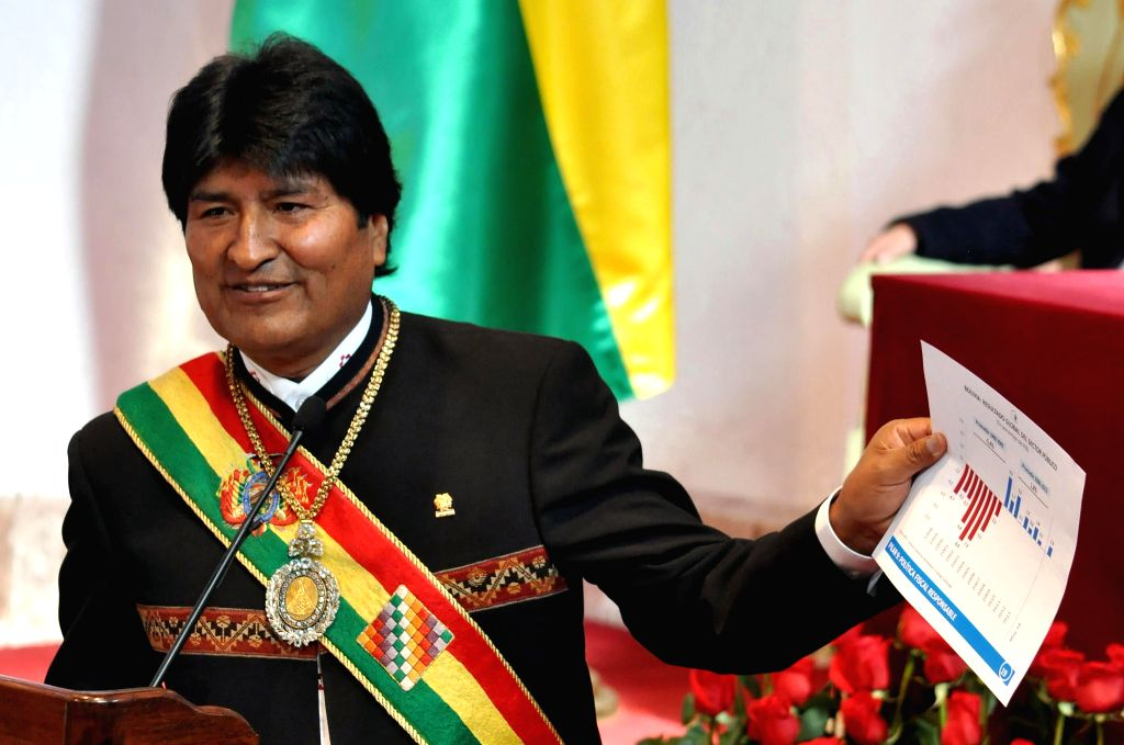 Bolivian President Evo Morales delivers a speech during an honor session to commemorate the 189th anniversary of Bolivia's independence in Sucre, Bolivia, on Aug. 6, ..