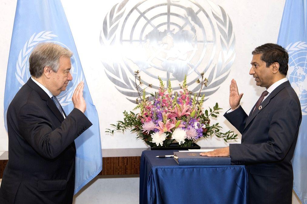 Sudhir Rajkumar being sworn in as an assistant secretary-general of the United Nations by Secretary-General Antonio Guterres on April 18, 2018.