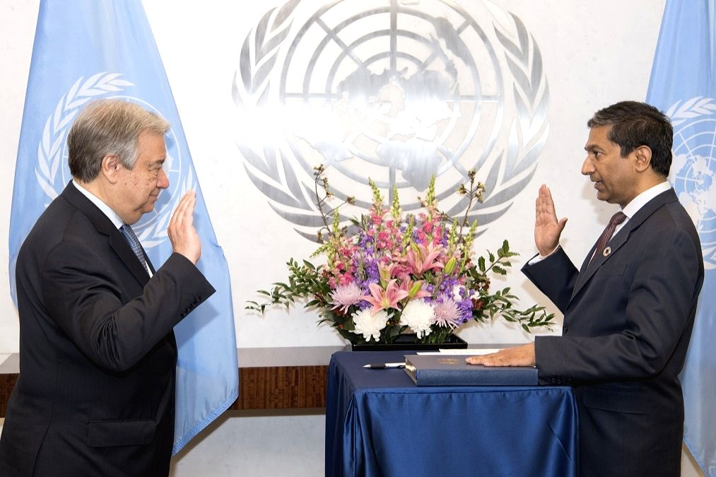 Sudhir Rajkumar being sworn in as an assistant secretary-general of the United Nations by Secretary-General Antonio Guterres on April 18, 2018. (Photo: UN/IANS)
