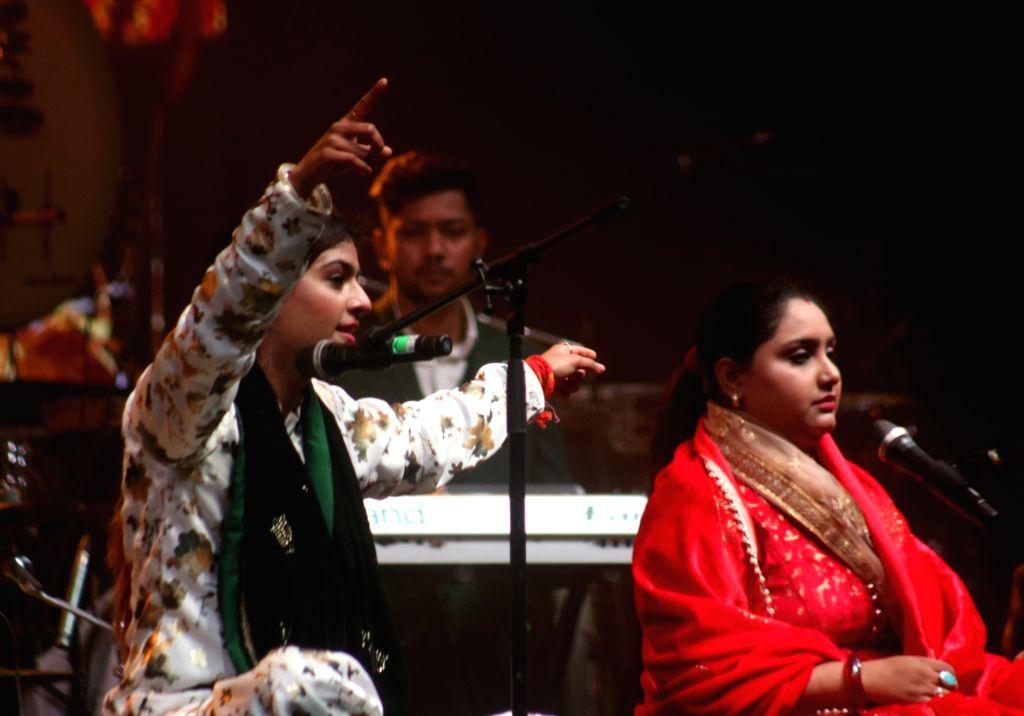 "Sufi singing duo Nooran Sisters Jyoti Nooran and Sultana Nooran perform during a musical evening ""The Sufi Route"" at Kalagram Garden Of Five Senses in New Delhi on Feb 9, 2019."