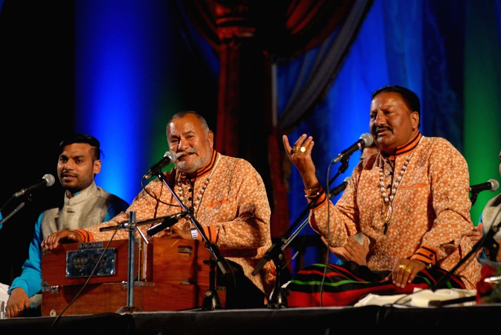 Sufi vocalists Ustad Puranchand Wadali and Pyarelal Wadali - Wadali Brothers - performs during a programme at the 10th Vasantotsav - 2016 in Pune, on Jan 15, 2016.