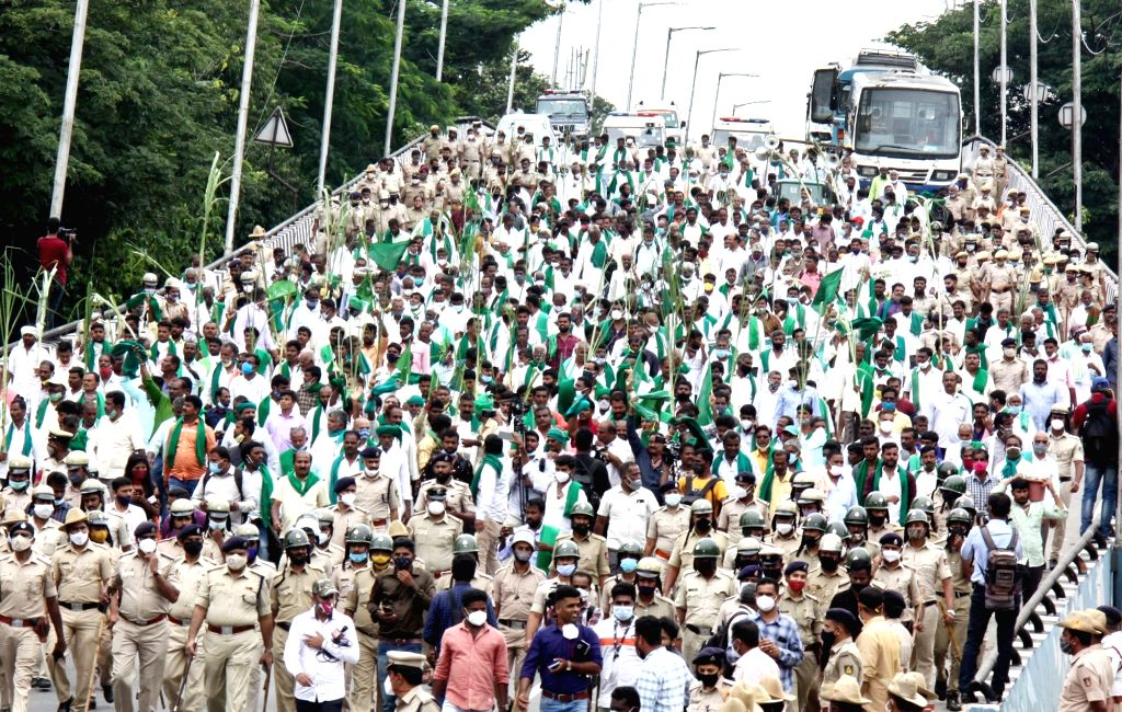 Sugarcane Farmers participated in a protest rally from City Railway Station to Freedom Park during their protest and demand for reconsideration of the sugarcane Fair and Remunerative Price ... - Dhananjay Yadav