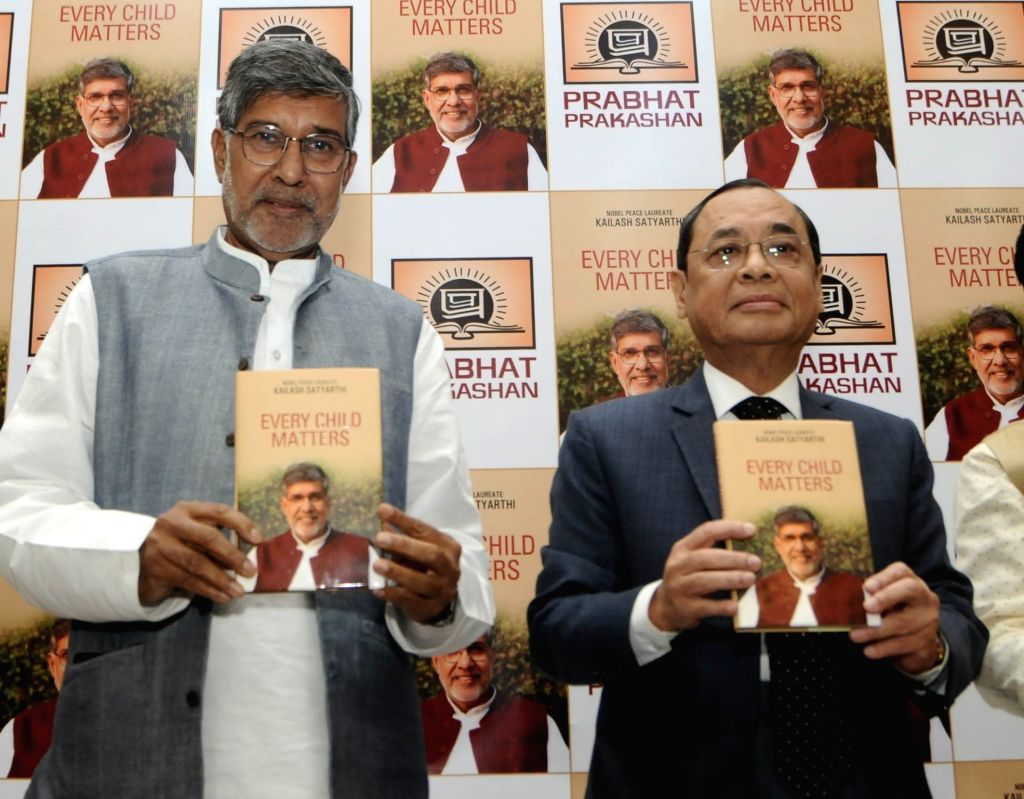 "Sulabh founder Kailash Satyarthi launches Justice Ranjan Gogoi's book ""Every Child Matters"" at Constitution Club in New Delhi on June 1, 2018. - Kailash Satyarthi"