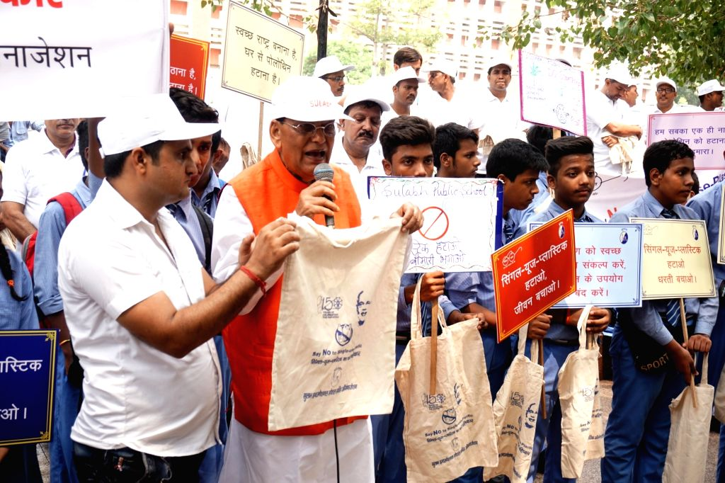 "Sulabh International Founder Bindeshwar Pathak  leads ""Say No To Single Use Plastic"" campaign organsied by Sulabh International at Connaught Place in New Delhi on Sep 12, 2019."