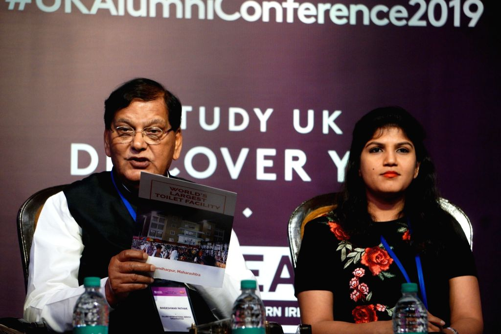 Sulabh International Founder Dr Bindeshwar Pathak addresses at UK Alumni Conference 2019 organised by British Council in New Delhi, on March 9, 2019. - Bindeshwar Pathak