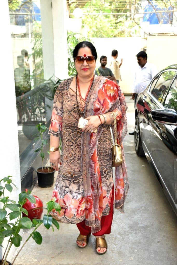 "Sunanda Shetty, businessman Raj Kundra's mother-in-law at the launch of his music album ""Teri Yaad"" in Mumbai, on Feb 9, 2019. - Sunanda Shetty"