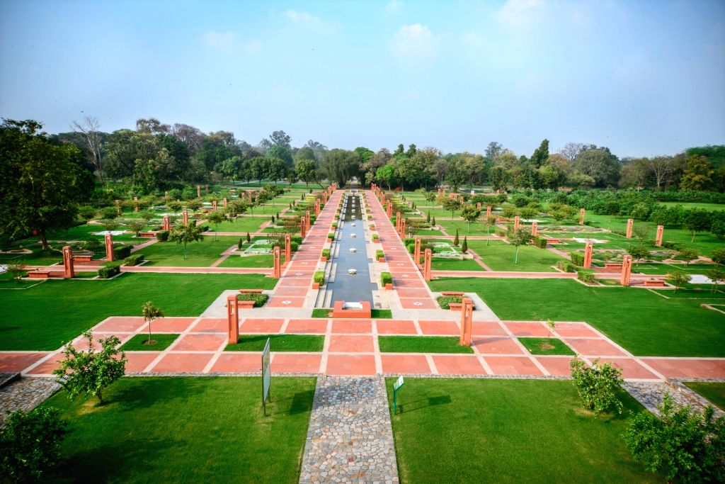 Sunder Nursery Central Axis - The design of this 560 m vista is inspired by the Persian carpet design and includes a central portion that in future years will form the heart of Sunder Nursery for visitors. (Photo Credit: The Aga Khan Trust for Cultur