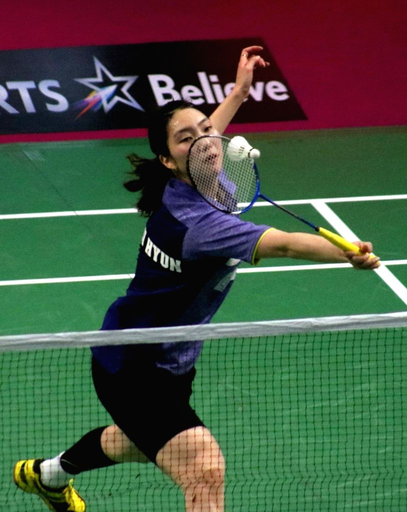 Sung Ji-hyun of Mumbai Rockets in action against PV Sindhu of Chennai Smashers during a Premier Badminton League 2017 match in New Delhi on Jan 14, 2017.