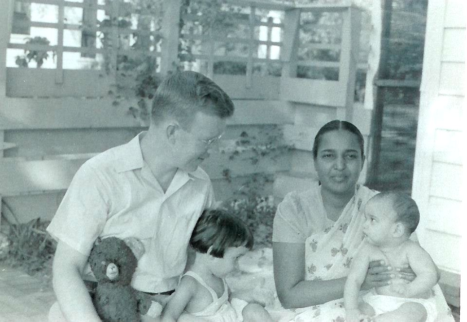 Sunil Freeman, the vice-presidential candidate of the Party for Socialism and Liberation, as a baby, right, in 1955 with his sister, his father Charles and mother Flora. (Photo: Courtesy of Freeman)