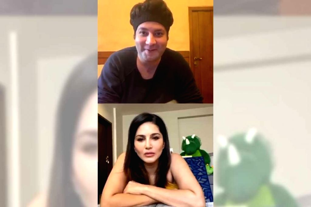 Sunny Leone gets a tongue-twister challenge from Varun Sharma. - Sunny Leone and Varun Sharma