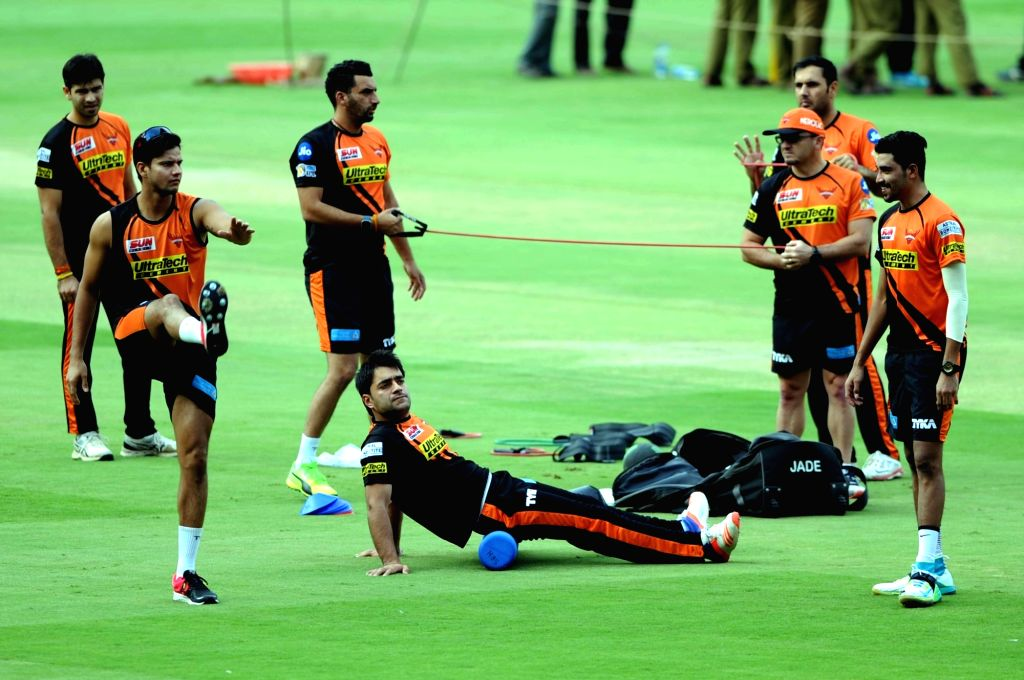 Sunrisers Hyderabad during a practice session ahead of their playoff match against Kolkata Knight Riders at Chinnaswamy Stadium in Bengaluru on May 16, 2017.
