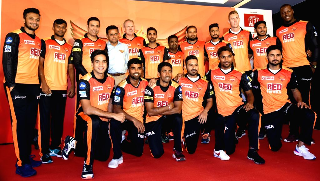 Sunrisers Hyderabad mentor V.V.S Laxman, head coach Tom Moody and bowling coach Muttiah Muralitharan with team members during a press conference in Hyderabad on April 5, 2018.
