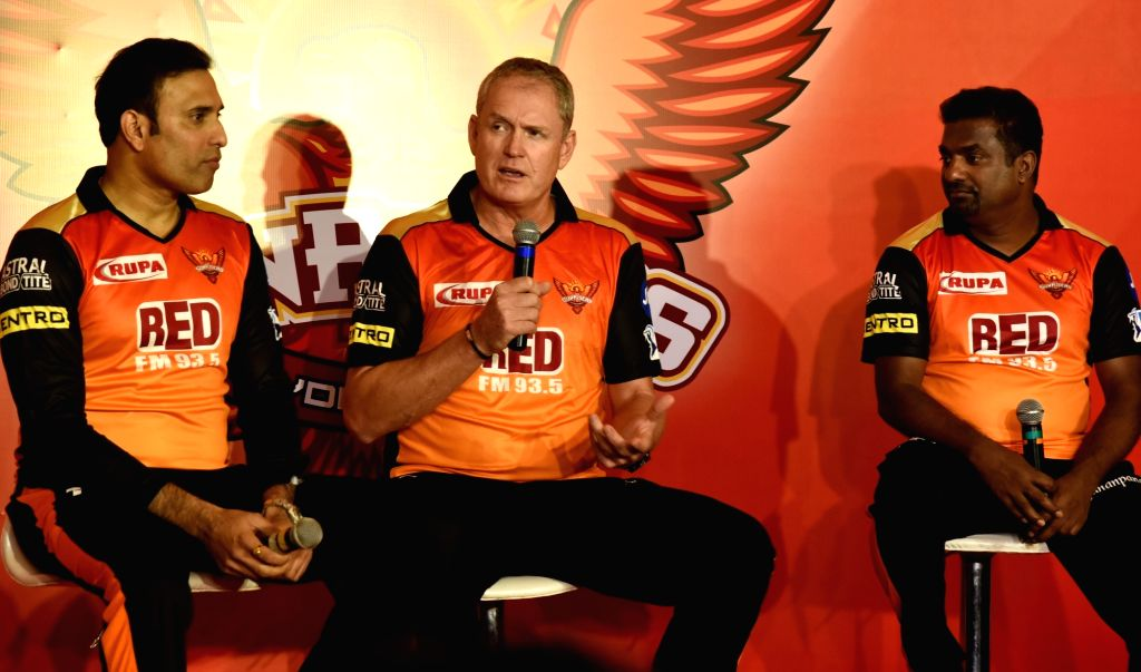 Sunrisers Hyderabad mentor V.V.S Laxman, head coach Tom Moody and bowling coach Muttiah Muralitharan during a press conference in Hyderabad on April 5, 2018.