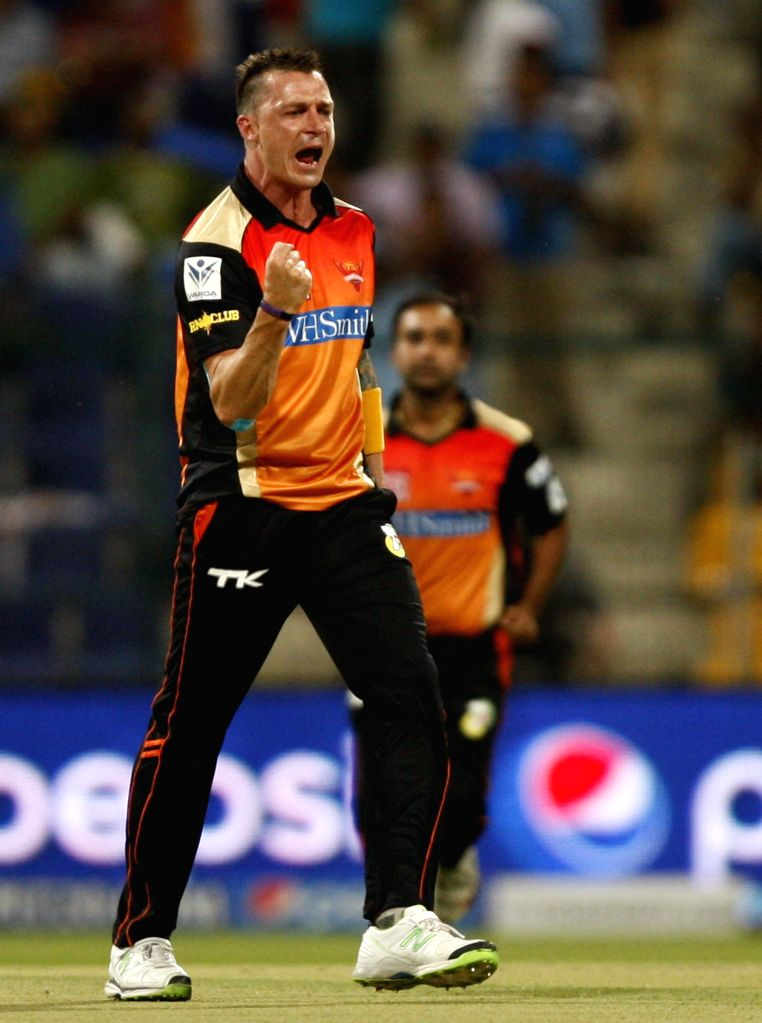 Sunrisers Hyderabad player Dale Steyn celebrates fall of a wicket during the fourth match of IPL 2014 between Sunrisers Hyderabad and Rajasthan Royals, played at Sheikh Zayed Stadium in Abu Dhabi of .