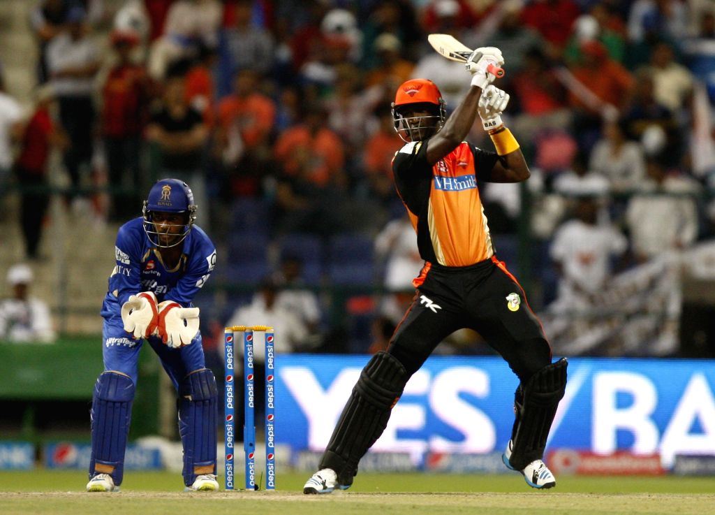 Sunrisers Hyderabad player Darren Sammy in action during the fourth match of IPL 2014 between Sunrisers Hyderabad and Rajasthan Royals, played at Sheikh Zayed Stadium in Abu Dhabi of United Arab ...