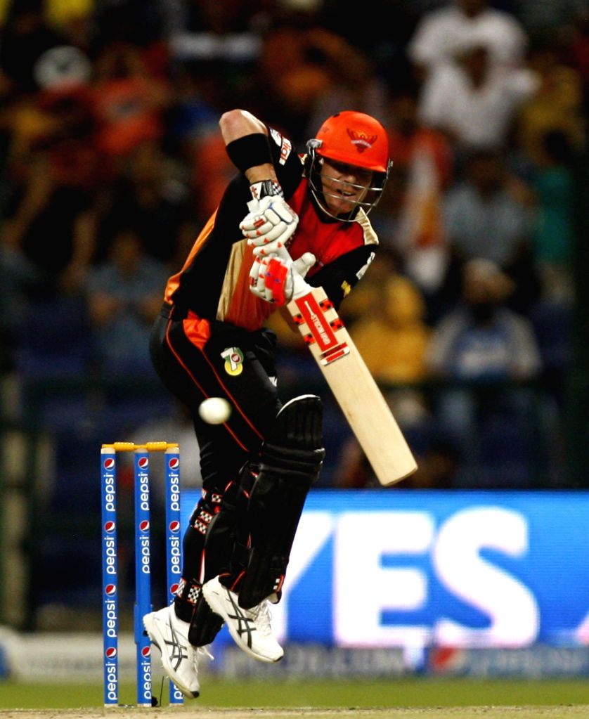 Sunrisers Hyderabad player David Warner in action during the fourth match of IPL 2014 between Sunrisers Hyderabad and Rajasthan Royals, played at Sheikh Zayed Stadium in Abu Dhabi of United Arab ...